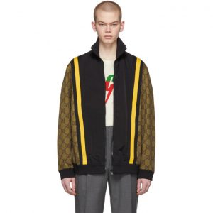 Gucci Brown and Black GG Eagle Track Jacket