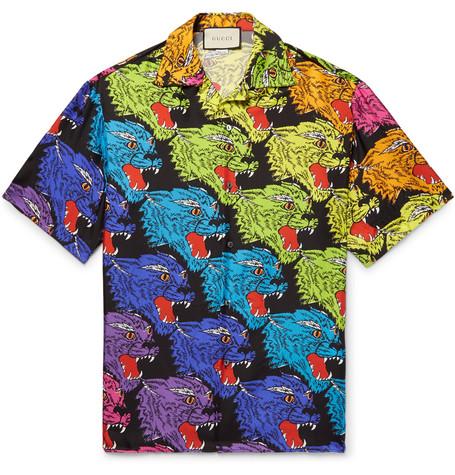 1d1adbc92 Gucci – Camp-Collar Printed Silk-Twill Shirt – Men – Multi | The ...