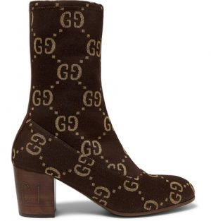 Gucci - Leather-Trimmed Logo-Jacquard Boots - Men - Brown