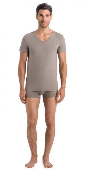HANRO (73089) Cotton Superior V-Neck Shirt - Dark Sea S