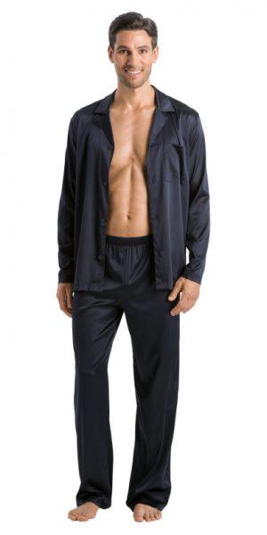 HANRO (75006) Silk Long Sleeve Pajama - Ocean L