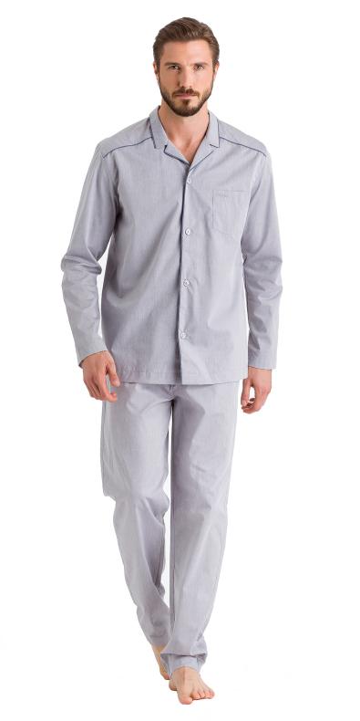 HANRO (75674) Sky Long Sleeve Pajama - Minimal Structure XXL