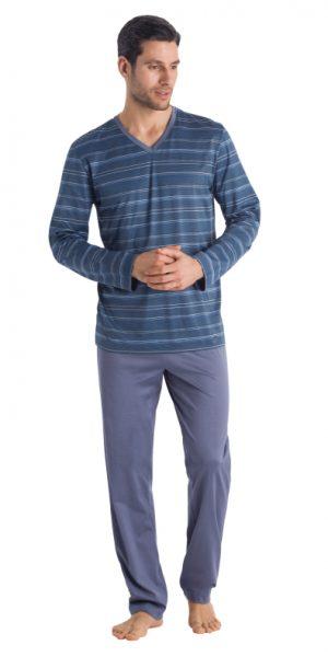 HANRO (75721) Linus Long Sleeve Pajama - Small Blue Stripe XL