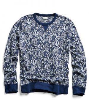 Hartford Jungle Palm Jacquard Sweatshirt in Navy
