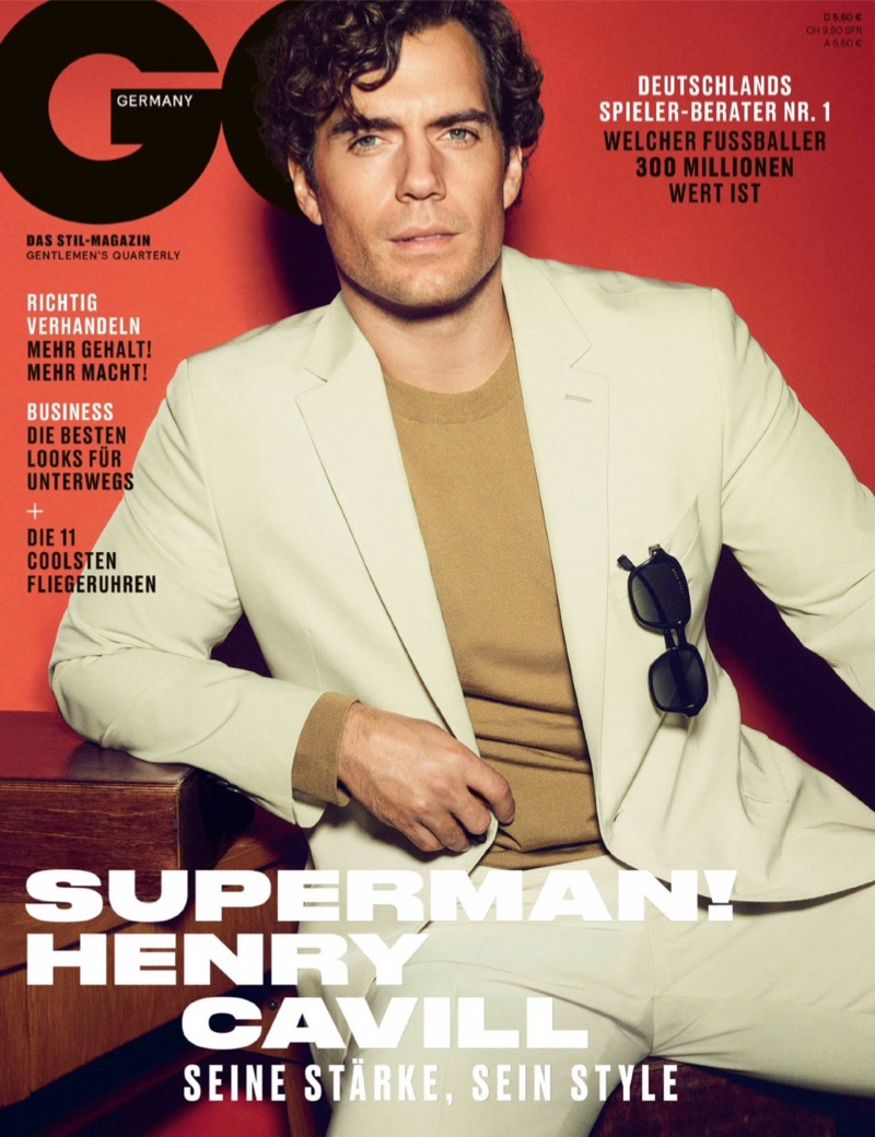 Donning a BOSS suit with a Dolce & Gabbana sweater, Henry Cavill covers GQ Germany.