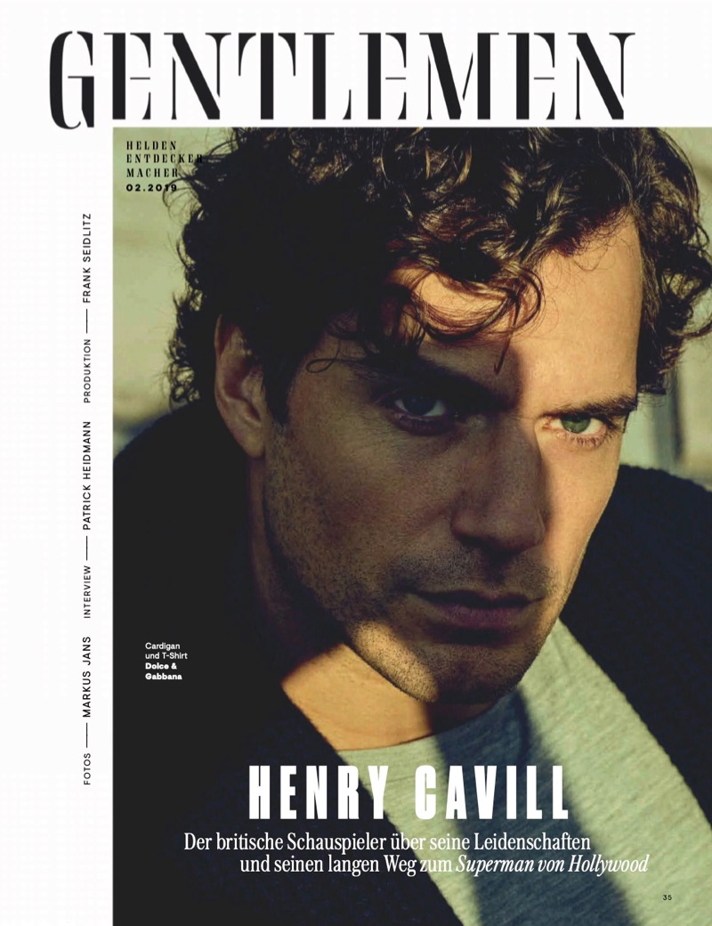 Ready for his close-up, Henry Cavill dons a t-shirt and cardigan by Dolce & Gabbana.