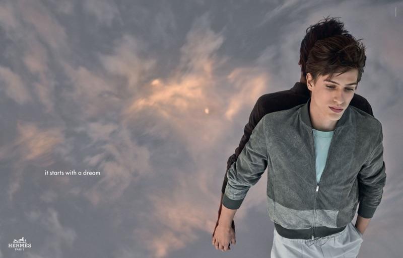 Jonas Lindstroem photographs Edoardo Sebastianelli for Hermès' spring-summer 2019 campaign.