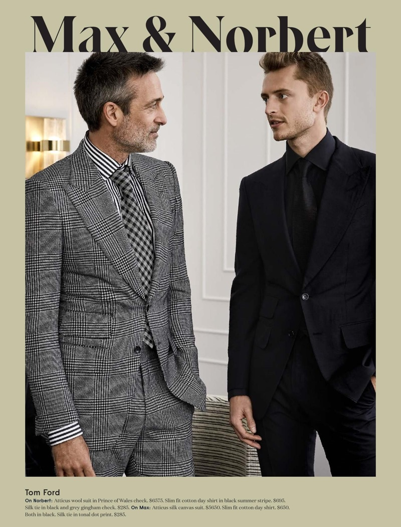 Models Norbert Michalke and Max Rendell don sharp suits by Tom Ford.