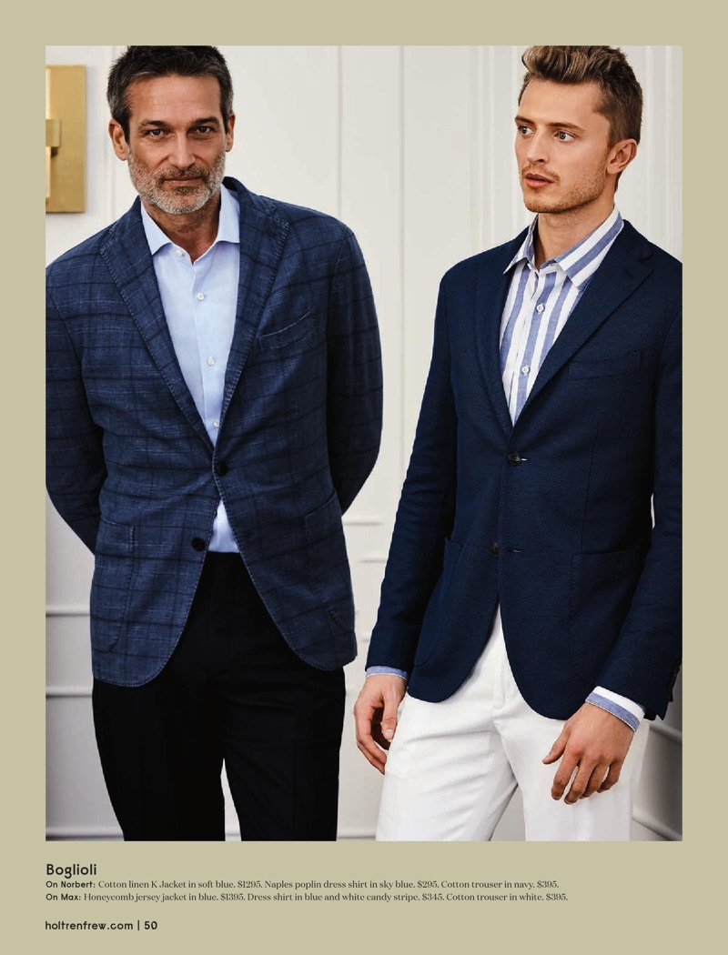 Connecting with Holt Renfrew, models Norbert Michalke and Max Rendell wear Boglioli.