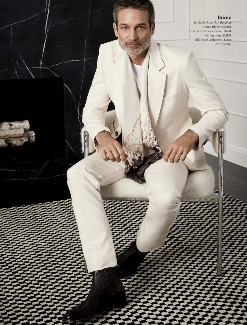 A vision in white, Norbert Michalke wears Brioni.