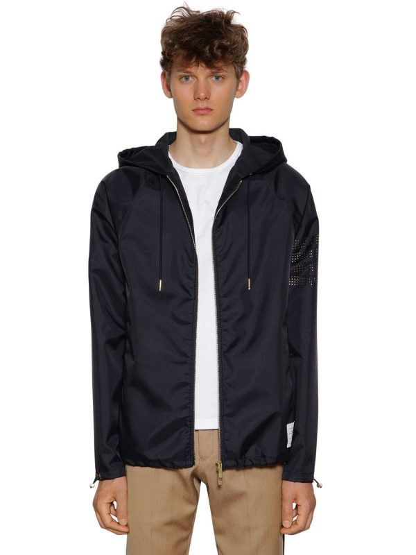Hooded Zip-up Ripstop Jersey Parka