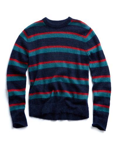 602788242 Italian Brushed Wool Multi Stripe Crewneck Sweater in Blue Red