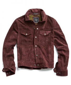 Italian Suede Snap Front Dylan Jacket in Burgundy