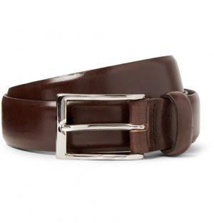 J.Crew - 3cm Dark-Brown Glossed-Leather Belt - Men - Brown