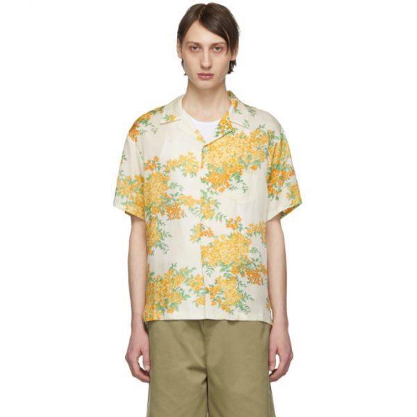 John Elliott Off-White Bougainvillea Bowling Short Sleeve Shirt