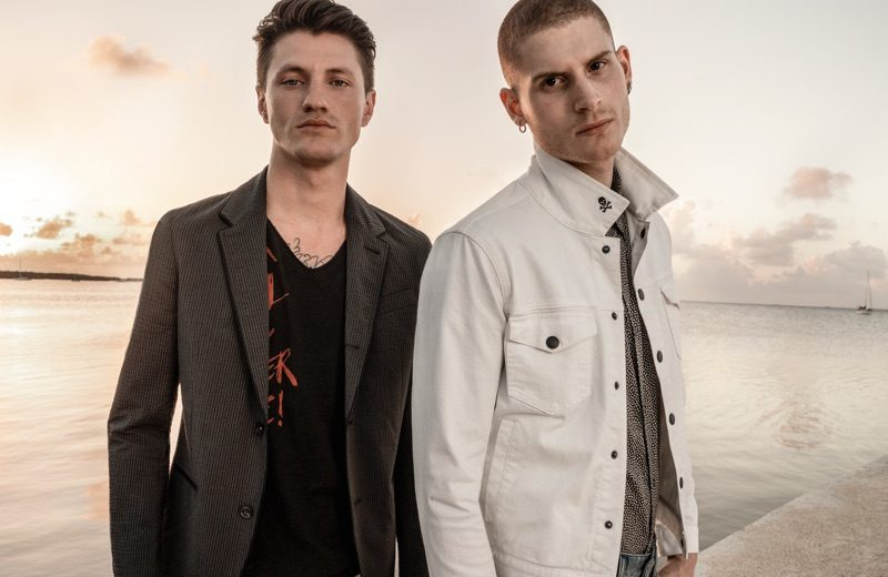 Embracing contemporary style, Eli Hall and Mike Russo wear John Varvatos Star USA.