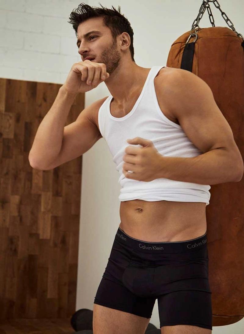 Kevin Sampaio sports Calvin Klein boxer briefs for Simons new lookbook.