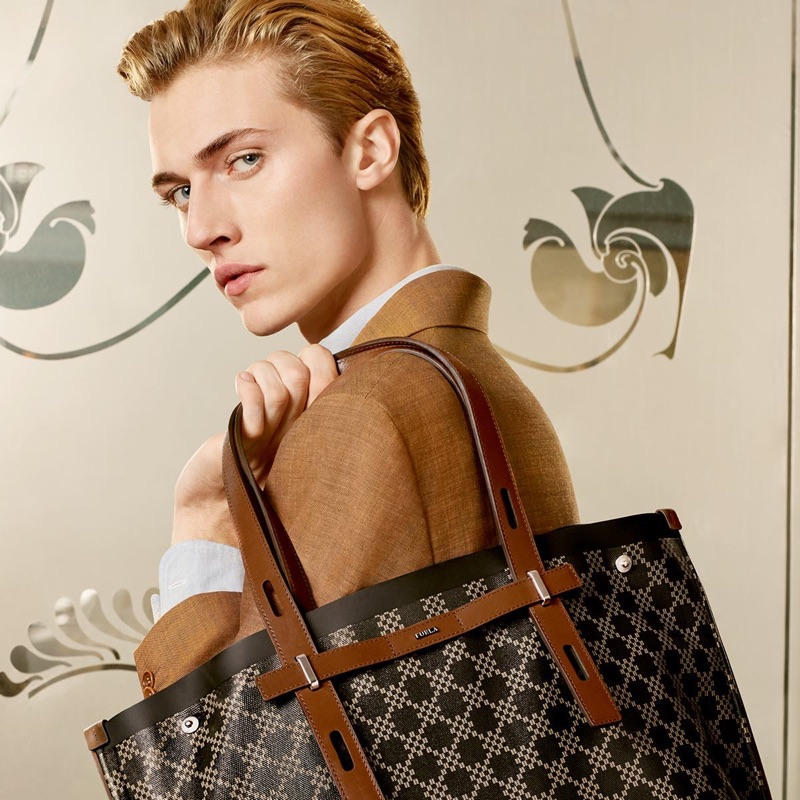 American model Lucky Blue Smith fronts Furla's spring-summer 2019 campaign.