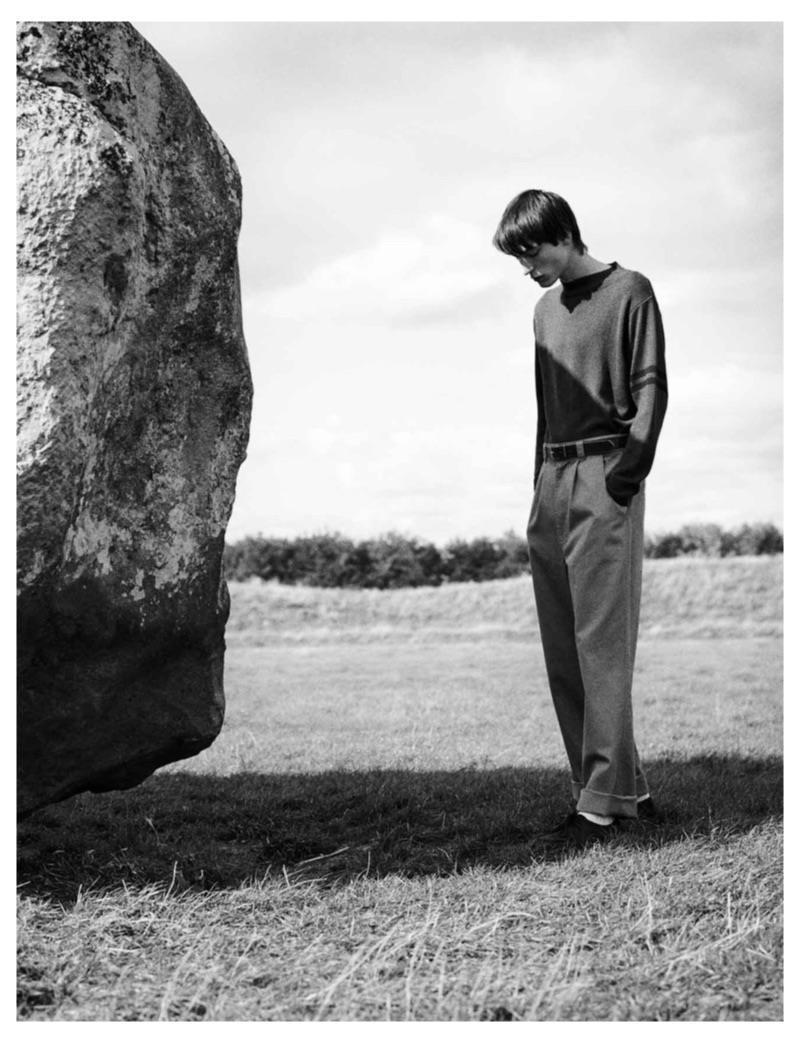 Appearing in a quiet black and white photo, Nick Fortna stars in MHL by Margaret Howell's spring-summer 2019 campaign.