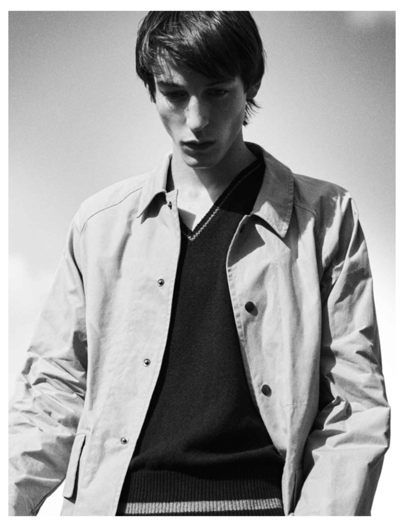Model Nick Fortna fronts MHL by Margaret Howell's spring-summer 2019 campaign.