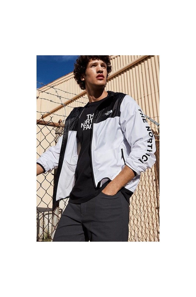 Portuguese model Francisco Henriques dons a jacket and t-shirt by The North Face.