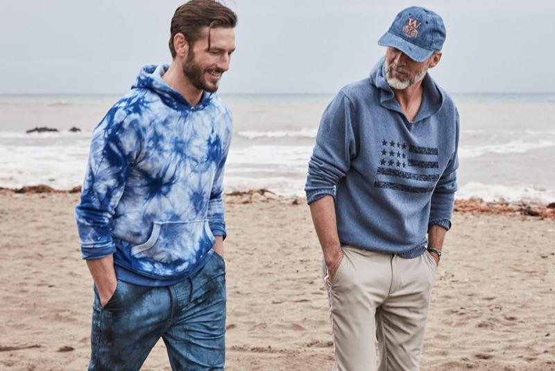 Parker Gregory and Ben Desombre hit the beach in styles from Macy's.