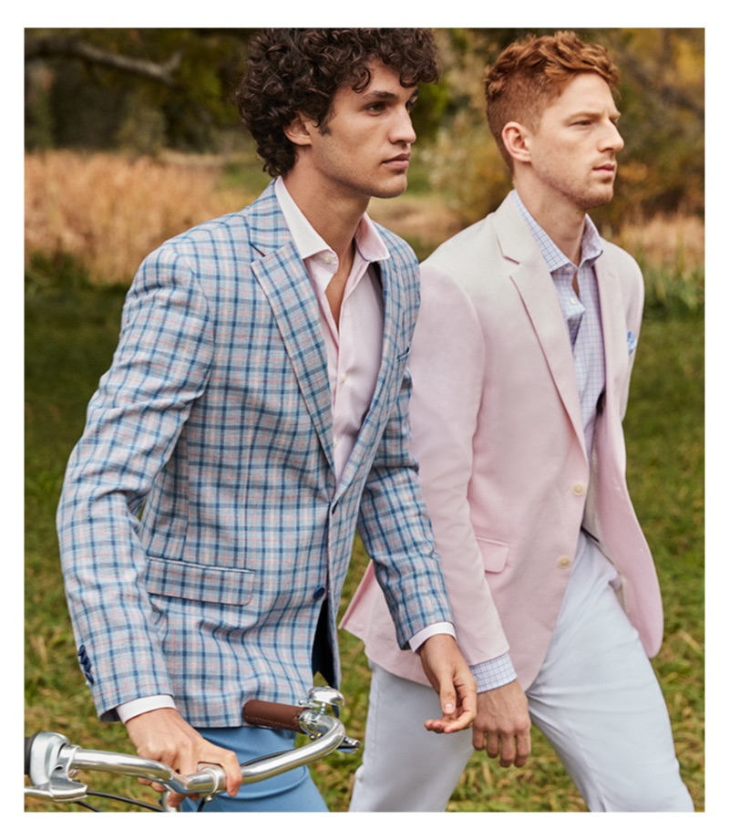 Ready for Easter, Francisco Henriques and Race Imboden embrace pastel colors in elegant suiting.