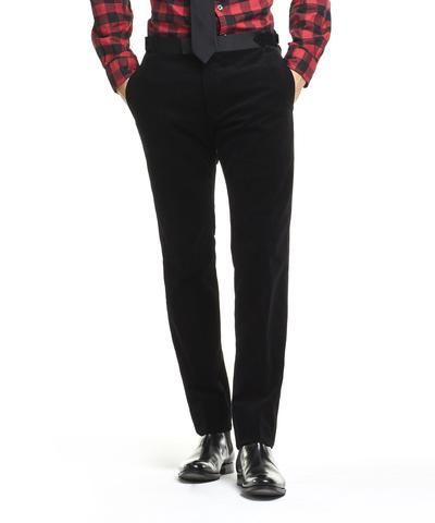 Made in USA Black Micro Cord Tuxedo Trouser