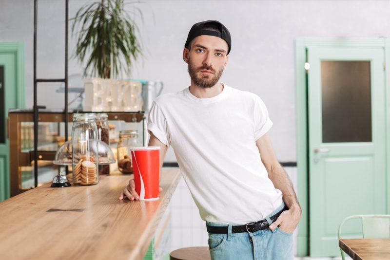 Male Model Backwards Cap Belted Jeans