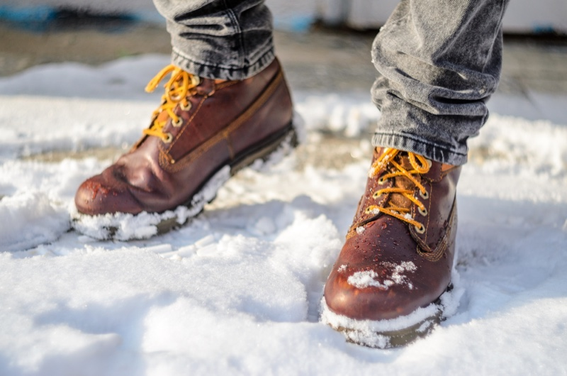 Man in Snow with Hiking Boots