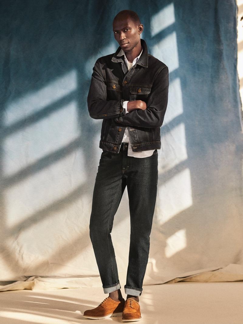 Raw Denim: Armando Cabral sports Mango's Tim jeans in a dark raw style.