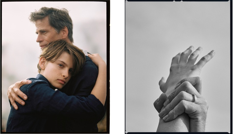 Embracing, Mark Vanderloo and his son appear in a feature for Massimo Dutti.