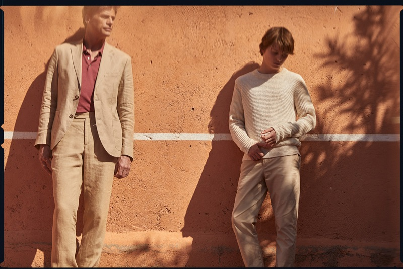 Embracing neutrals, Mark Vanderloo and his son front a stylish outing for Massimo Dutti.