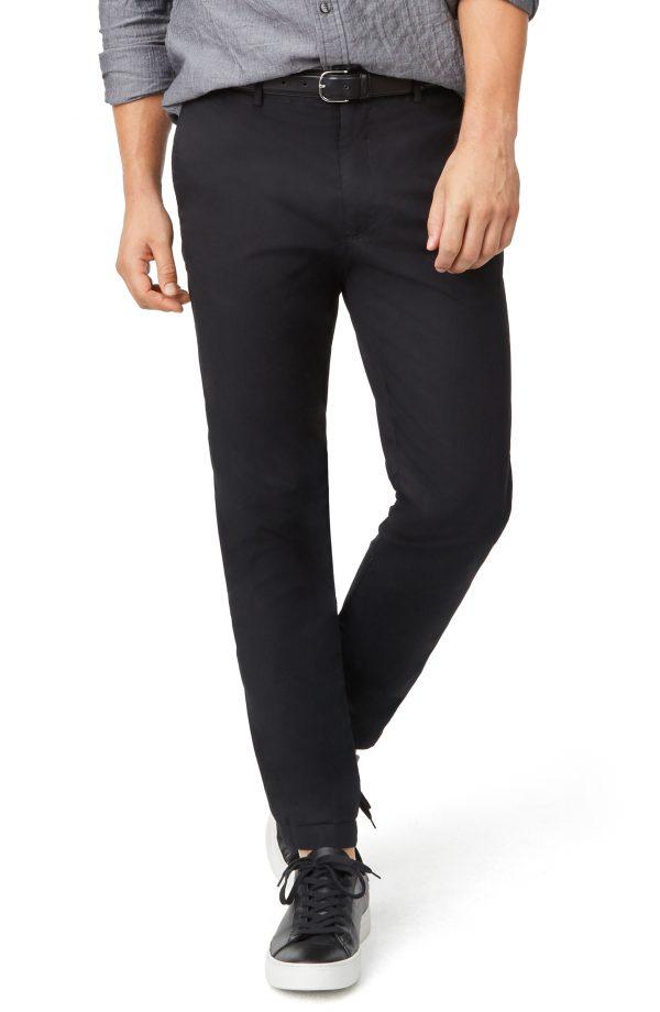 Men's Club Monaco Connor Trim Fit Stretch Cotton Chino Pants, Size 30 x 32 - Black