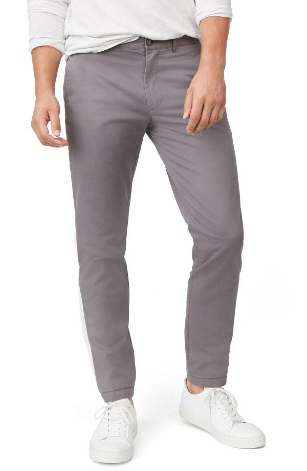 Men's Club Monaco Connor Trim Fit Stretch Cotton Chino Pants, Size 30 x 32 - Grey