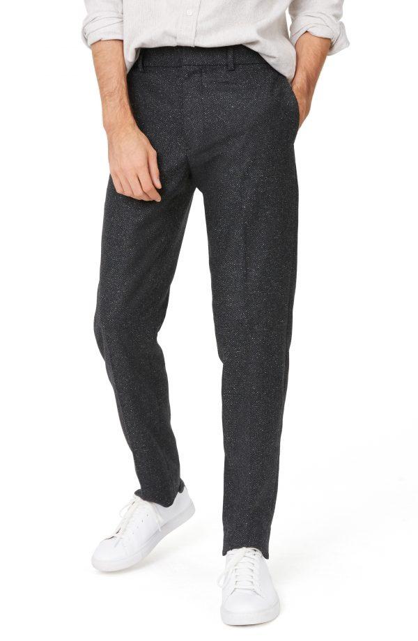 Men's Club Monaco Sutton Trim Fit Wool Blend Pants, Size 33 x 32 - Black