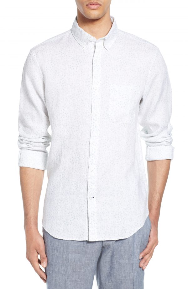 Men's Club Monaco Trim Fit Bandana Ditsy Print Linen Sport Shirt, Size Medium - Blue
