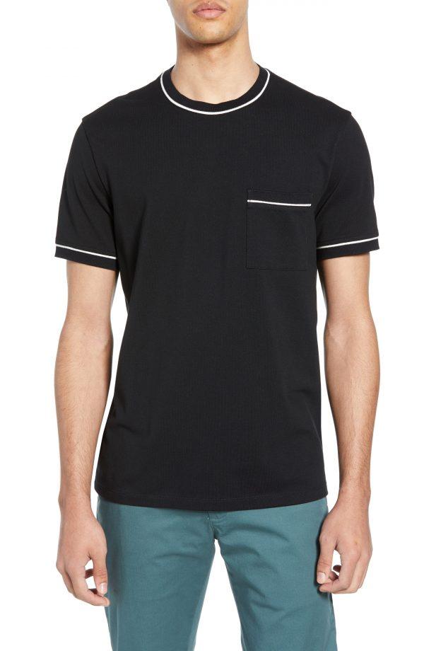 Men's Club Monaco Trim Fit Cotton Pique T-Shirt, Size X-Small - Black