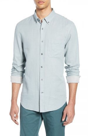 Men's Club Monaco Trim Fit Double Face Sport Shirt, Size X-Small - Blue