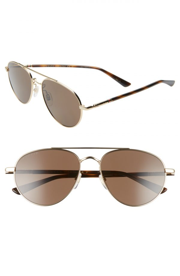 Men's Gucci 56Mm Aviator Sunglasses - Gold