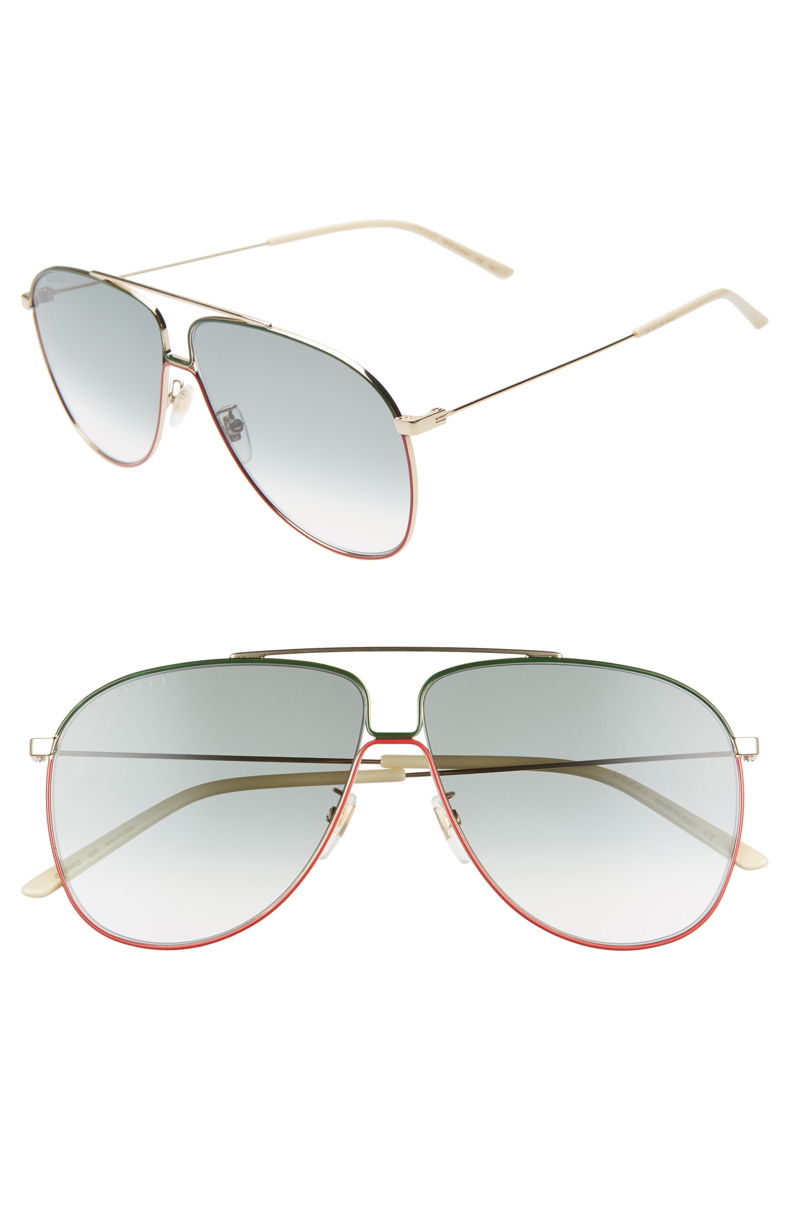5f95388ba65 Men s Gucci 63Mm Oversize Gradient Aviator Sunglasses – Gold  Green ...