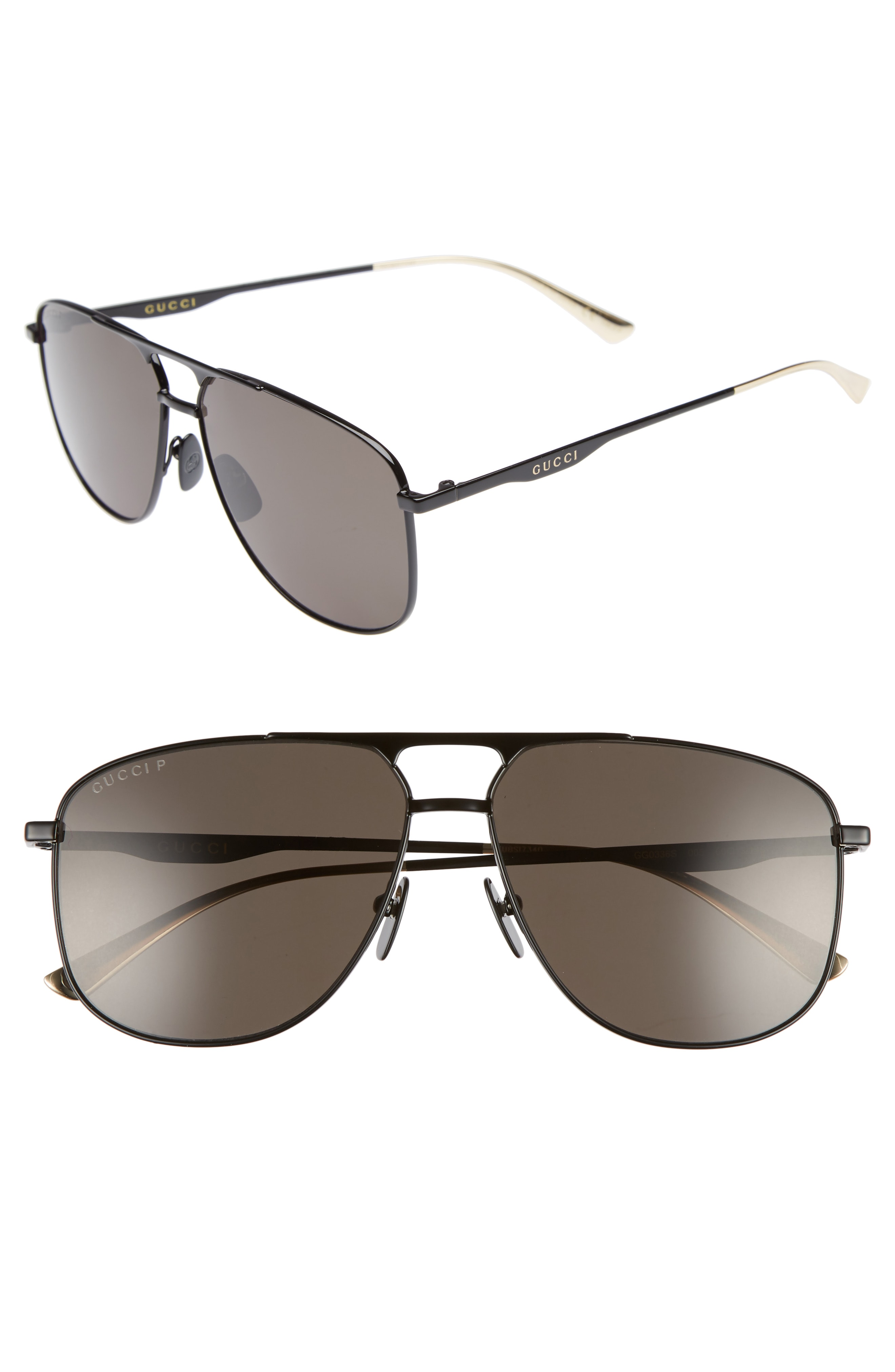 b453467a0a83f Men s Gucci 80S Monocolor 60Mm Polarized Aviator Sunglasses –