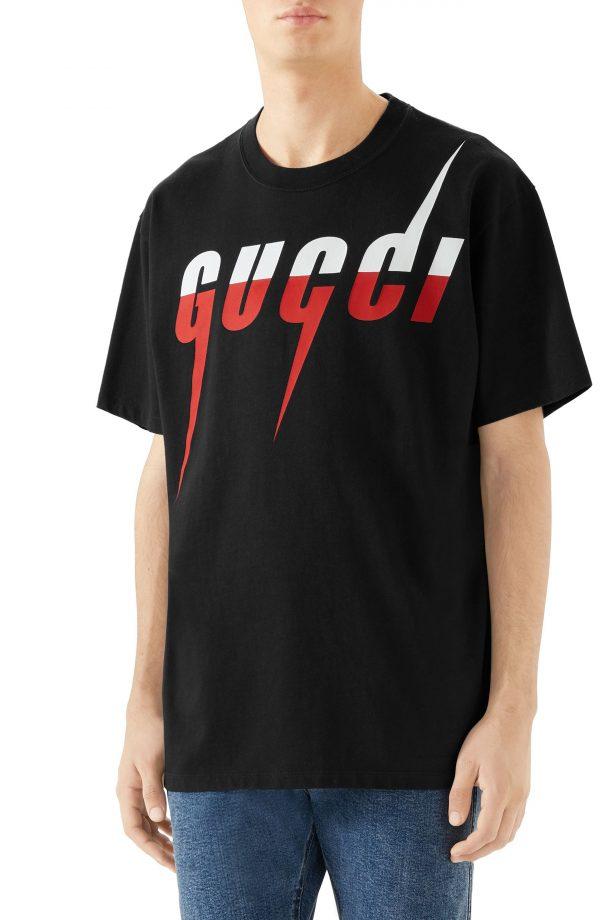 Men's Gucci Blade Logo T-Shirt, Size X-Small - Black