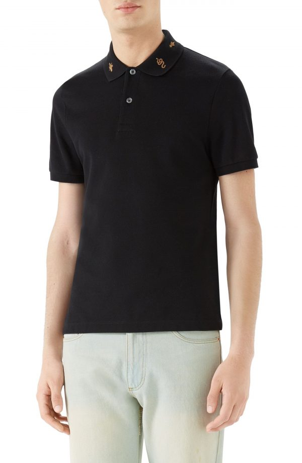 Men's Gucci Gold Embroidered Pique Polo