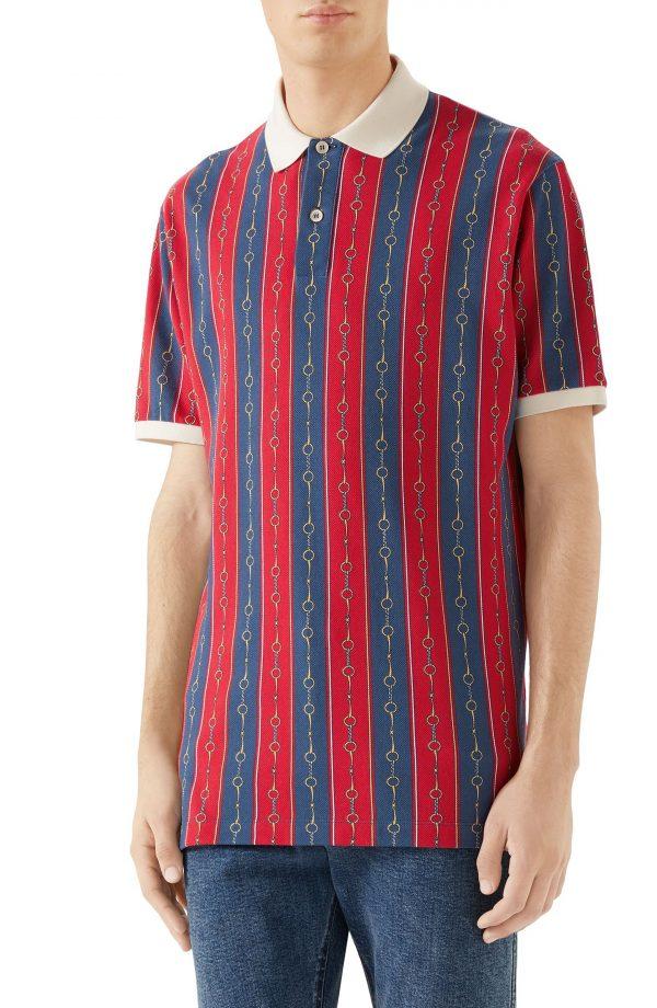 Men's Gucci Horsebit Stripe Polo, Size XX-Large - Red