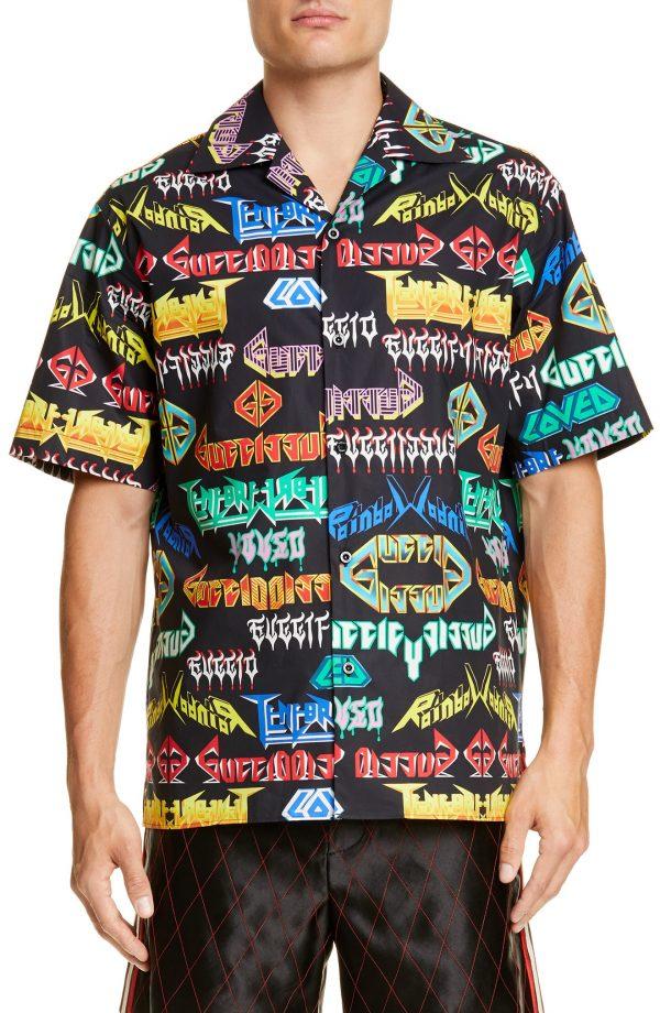 Men's Gucci Metal Mix Sport Shirt, Size 52 EU - Black