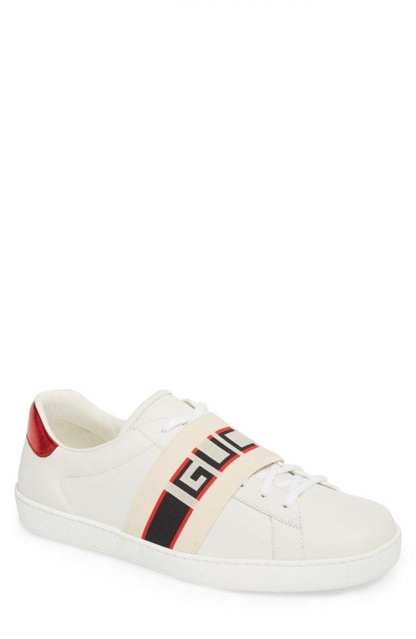 Men's Gucci New Ace Stripe Leather Sneaker, Size 15US / 14UK - White