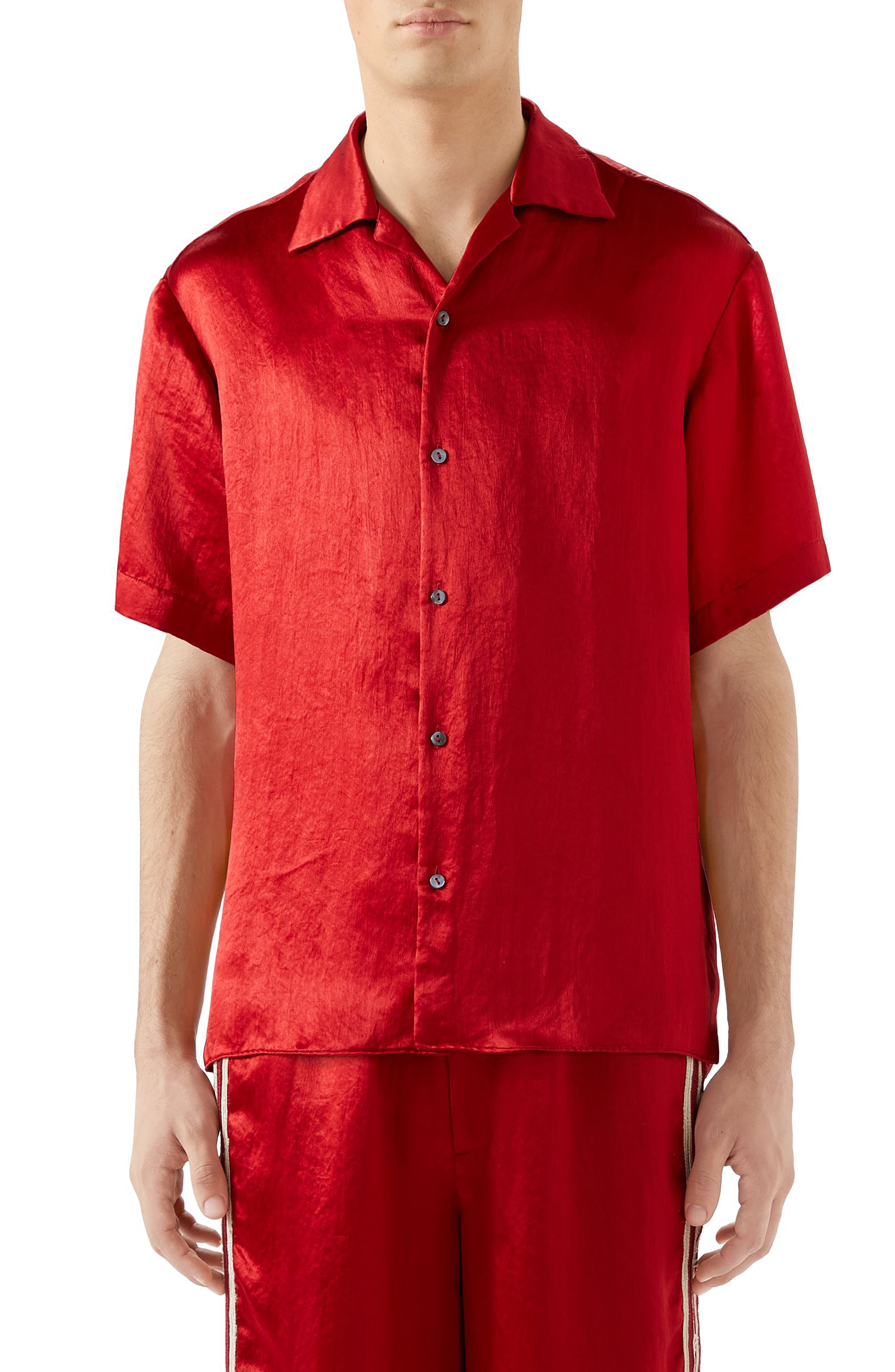 8290a483beaf Men s Gucci Skull Embroidered Satin Bowling Shirt