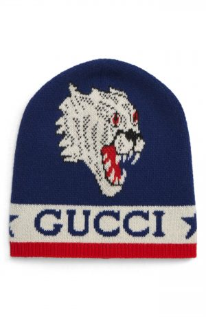 Men's Gucci Tiger Snake Wool Beanie - Red