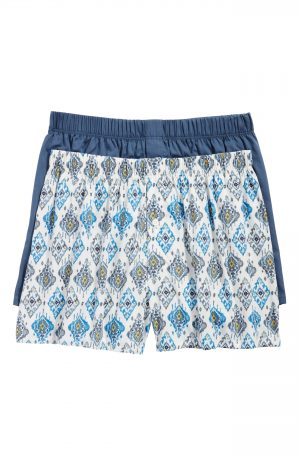 Men's Hanro 2-Pack Fancy Woven Boxers, Size X-Large - Blue